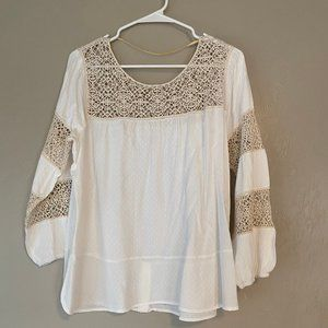 Democracy White Blouse with cream crochet details